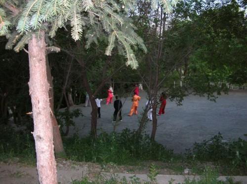 В парке города Хэйхэ можно встретить людей занимающихся традиционной китайской гимнастикой