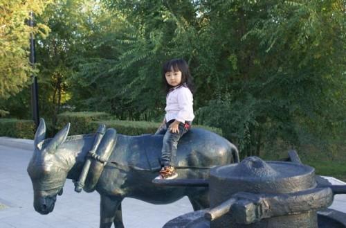 Девочка на ослике в парке г.Хэйхэ