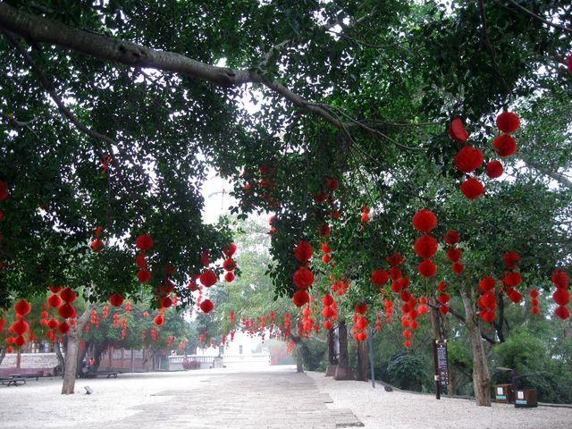 Ярко украшенная аллея в парке, город Бэйхай