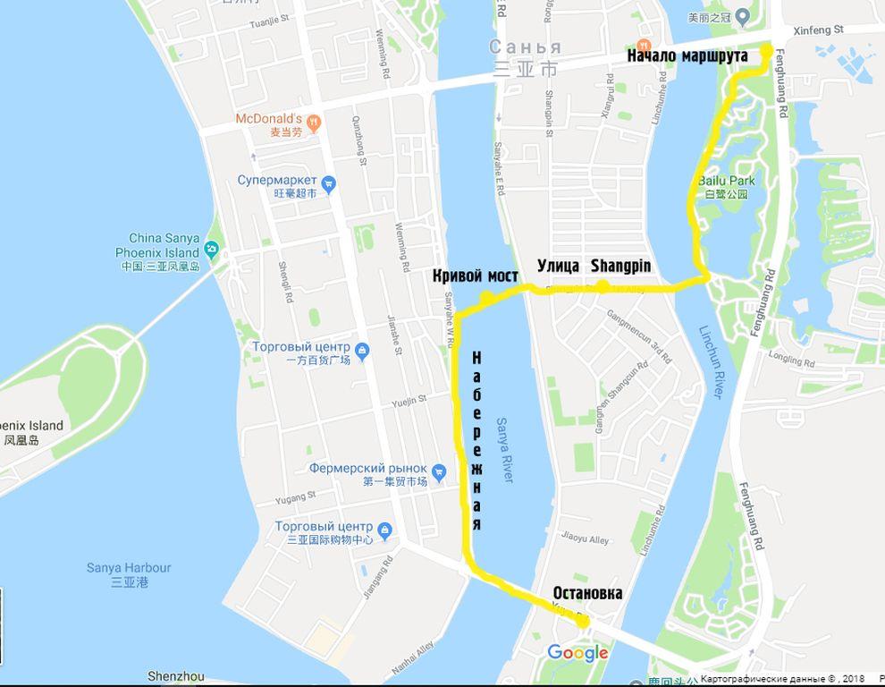Карта пешего маршрута по набережным рек в г. Санья