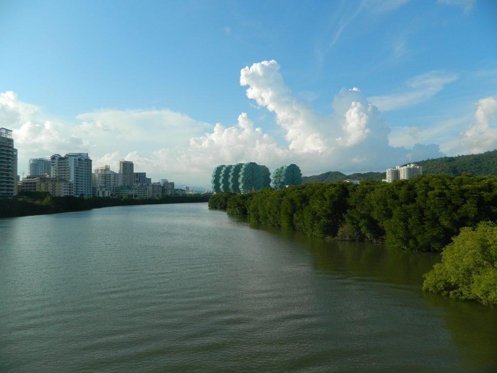 Река Linchun и дома-деревья, Санья
