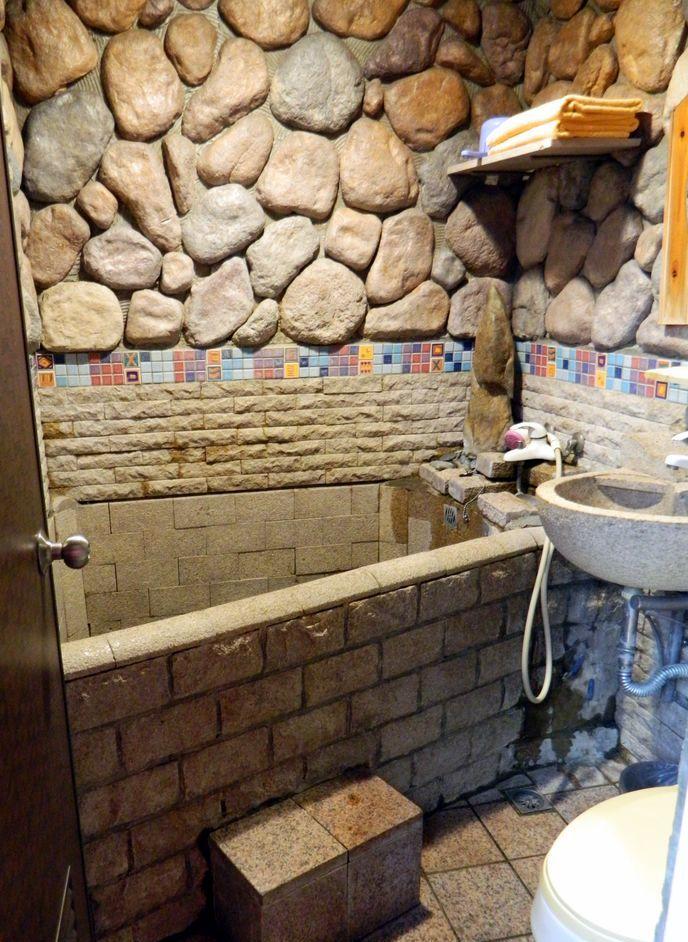 Оригинальная ванная комната в Shankou Hotspring Hotel, Тайвань